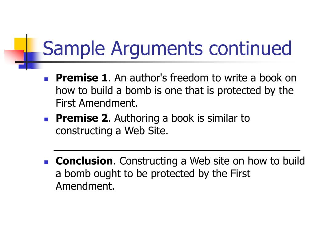 Sample Arguments continued