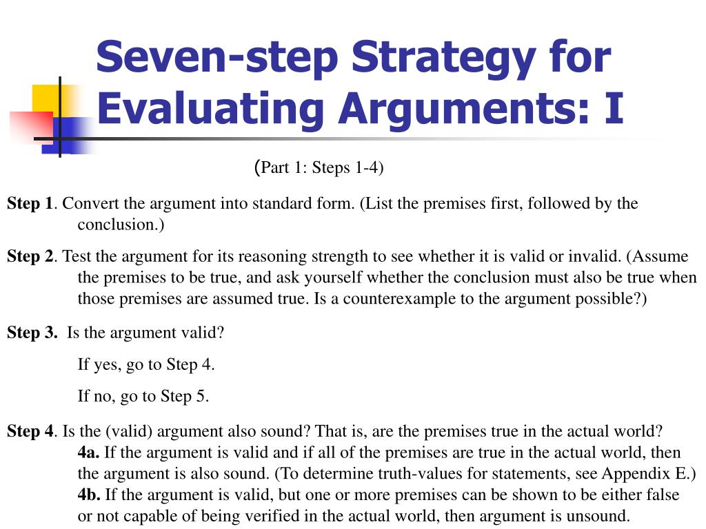 Seven-step Strategy for Evaluating Arguments: I