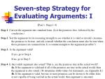 seven step strategy for evaluating arguments i