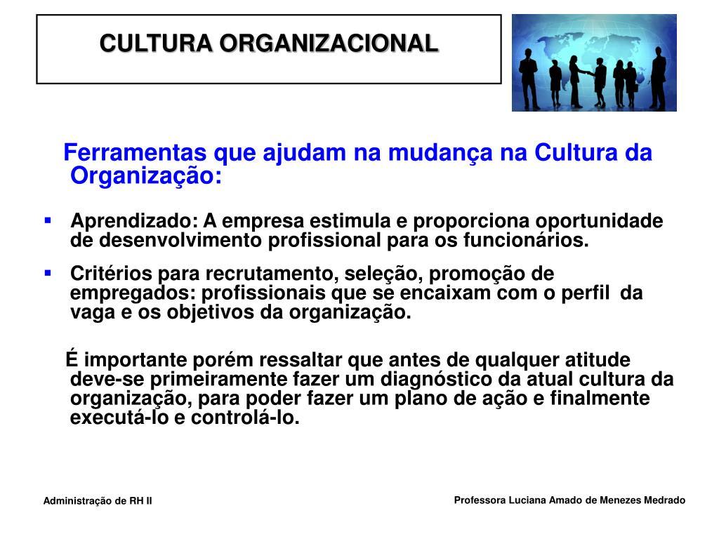 Ferramentas que ajudam na mudança na Cultura da Organização: