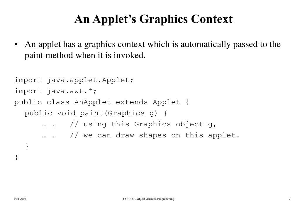 An Applet's Graphics Context