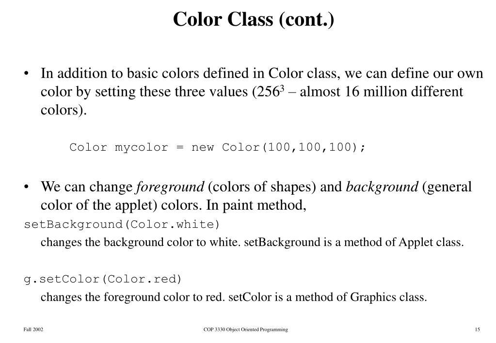 Color Class (cont.)