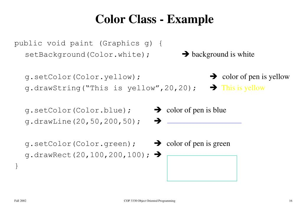 Color Class - Example