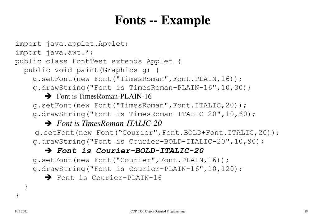 Fonts -- Example