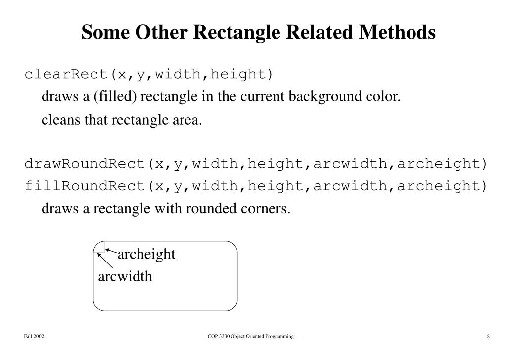 Some Other Rectangle Related Methods