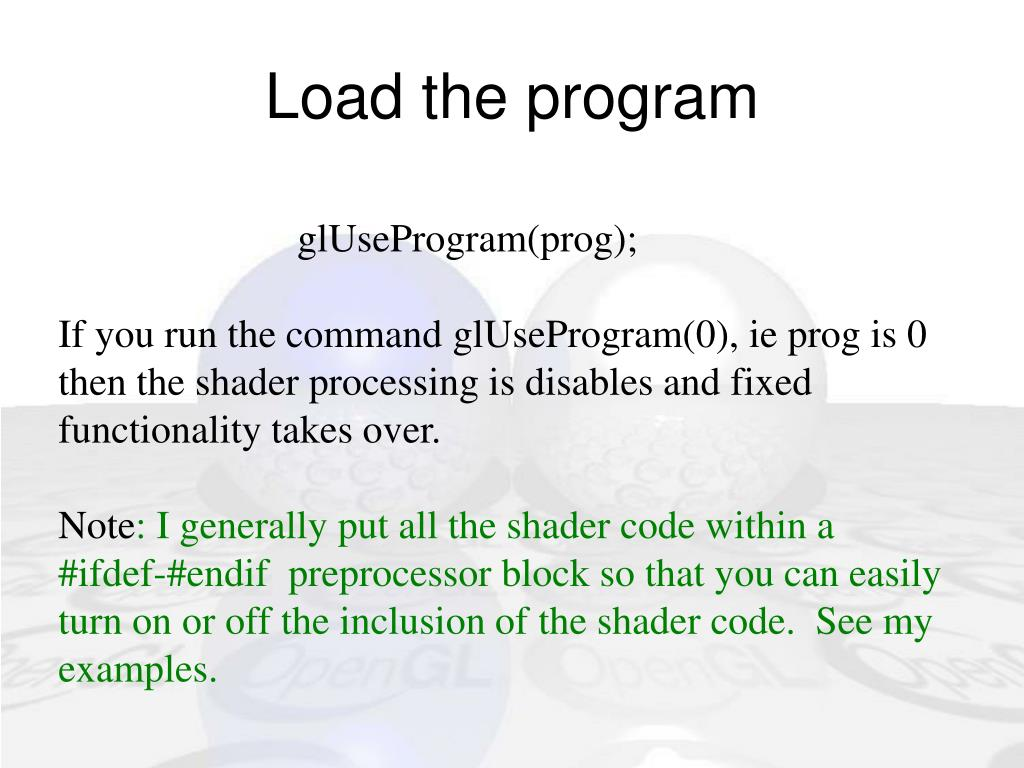 Load the program