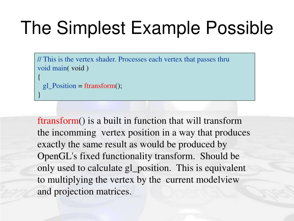 The Simplest Example Possible