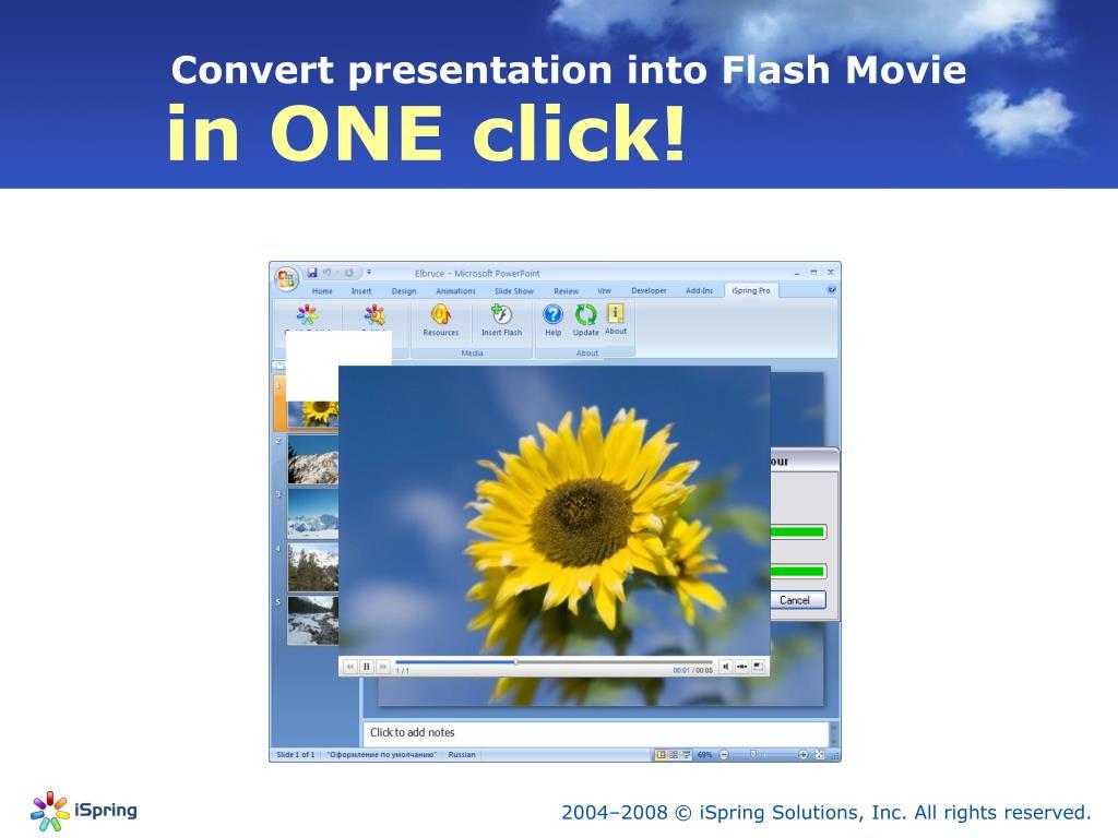 Convert presentation into Flash Movie