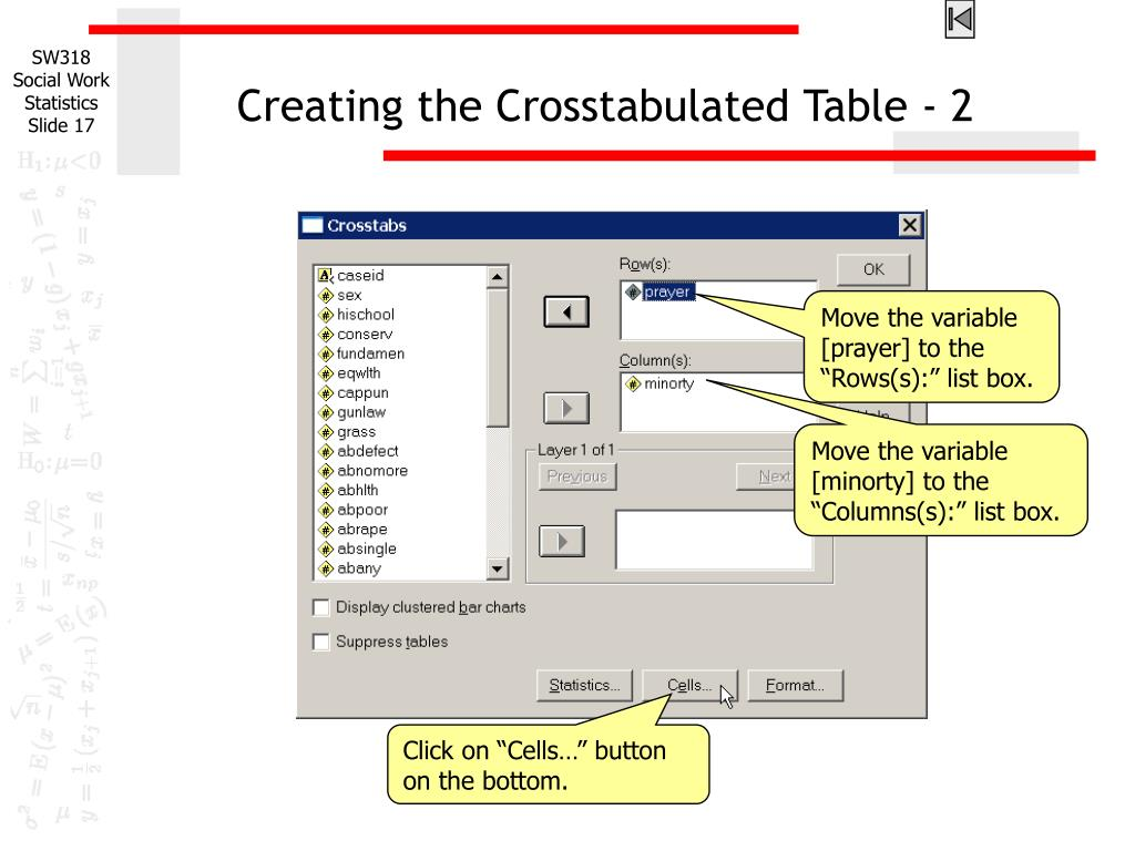 Creating the Crosstabulated Table - 2