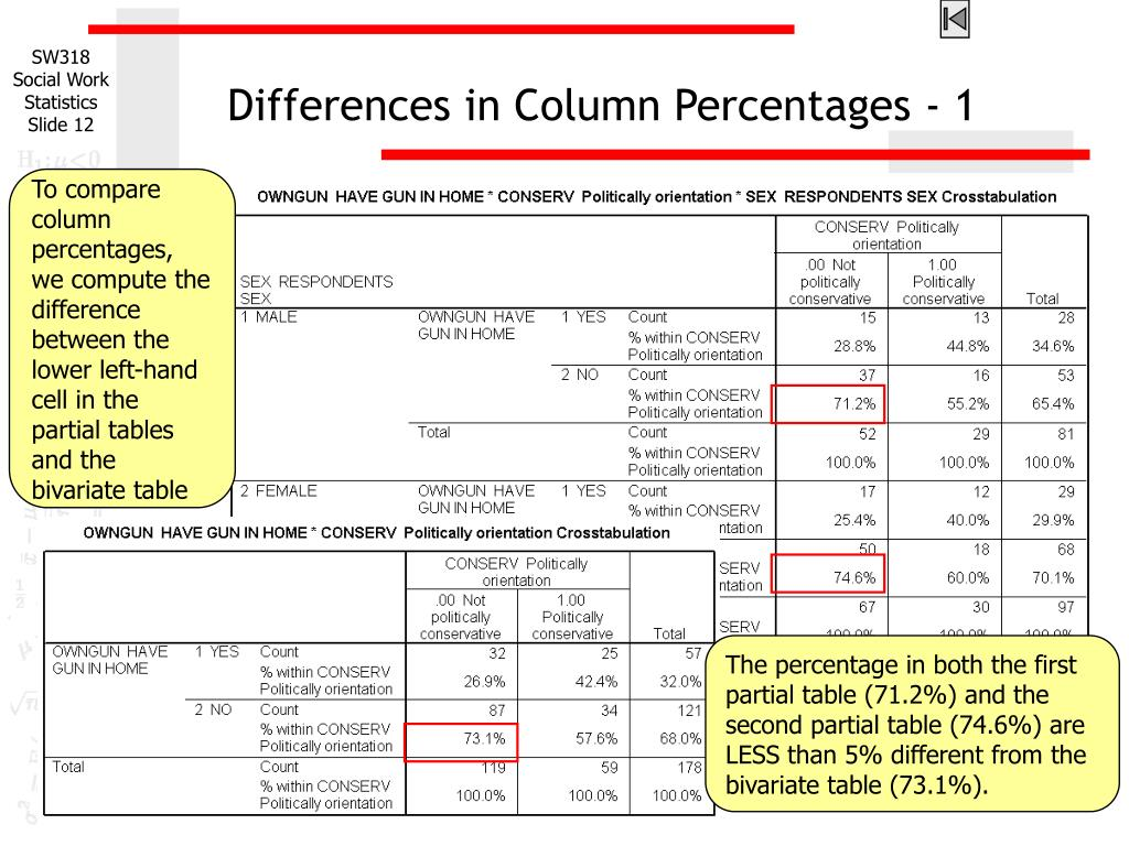 Differences in Column Percentages - 1