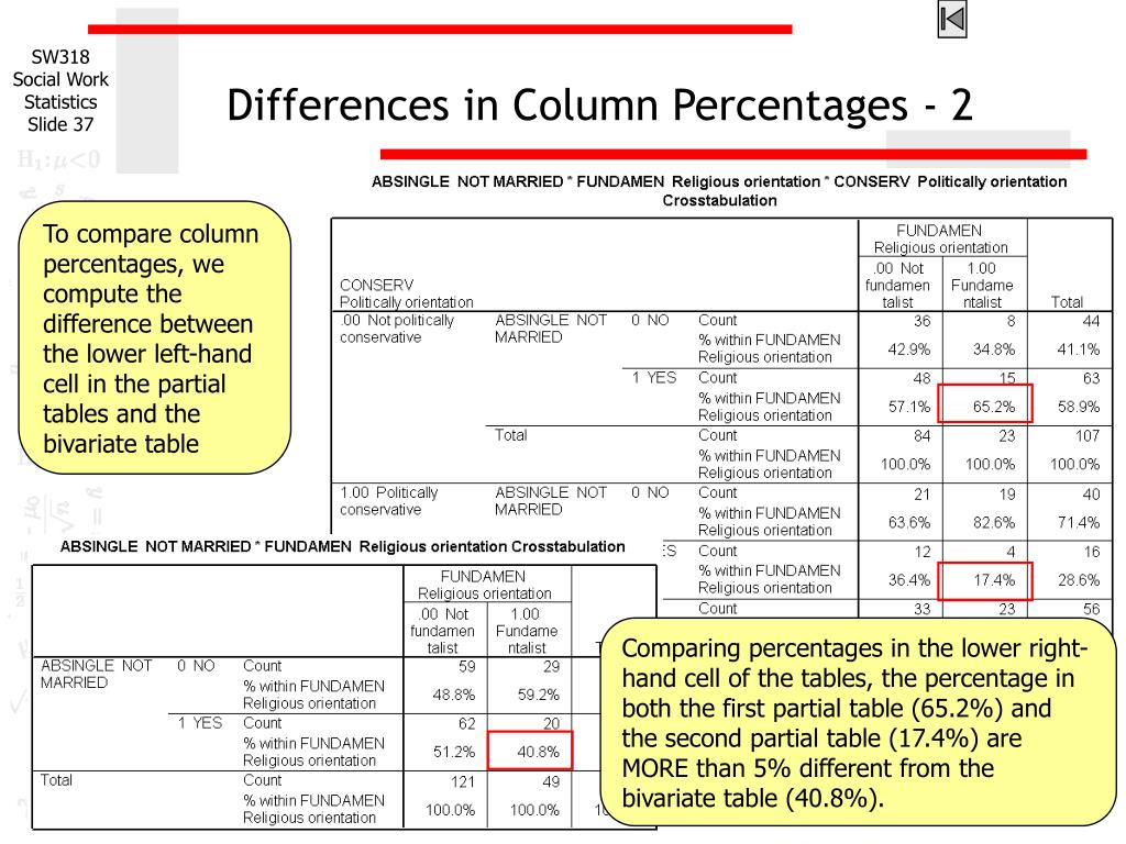 Differences in Column Percentages - 2