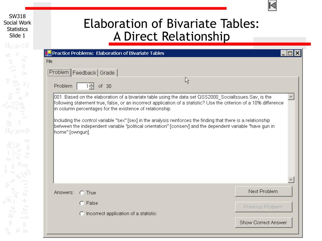 elaboration of bivariate tables a direct relationship