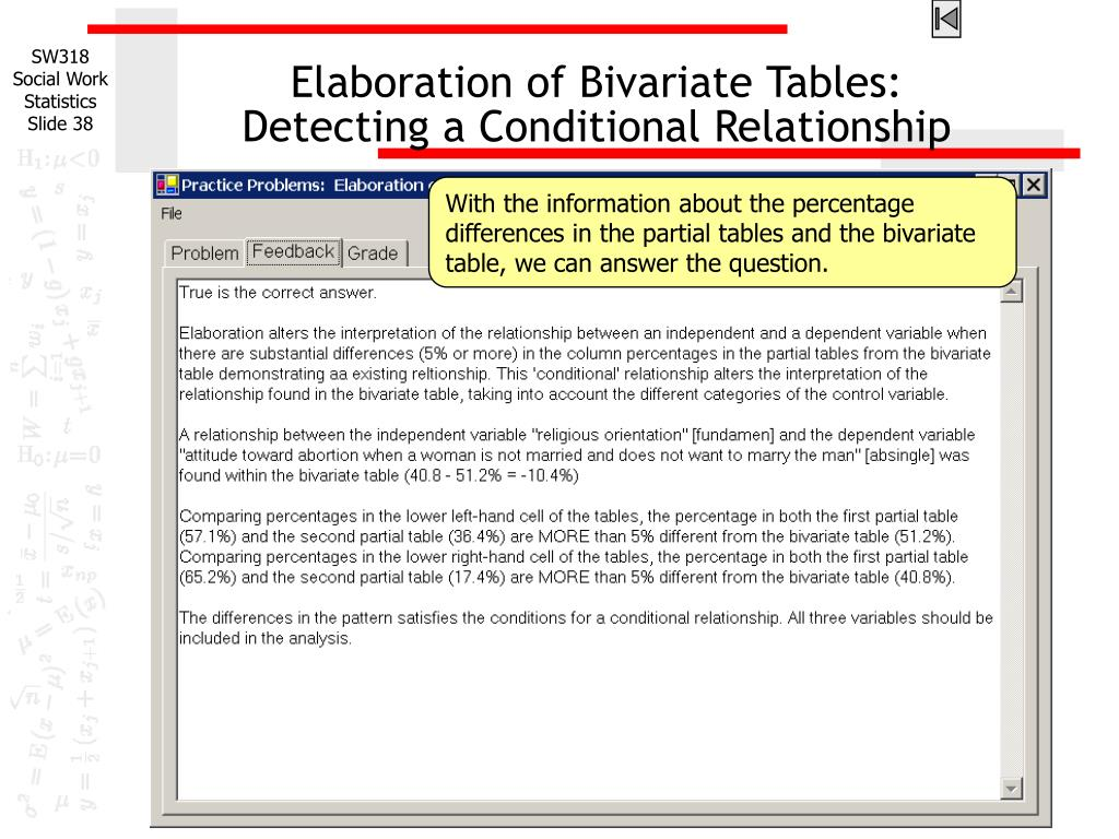 Elaboration of Bivariate Tables: