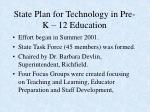 state plan for technology in pre k 12 education