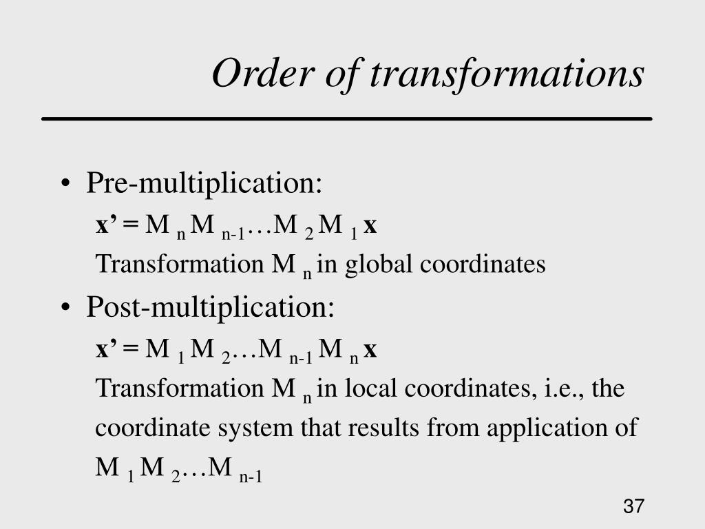 Order of transformations