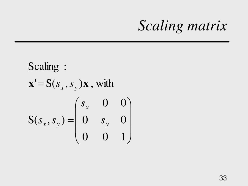 Scaling matrix