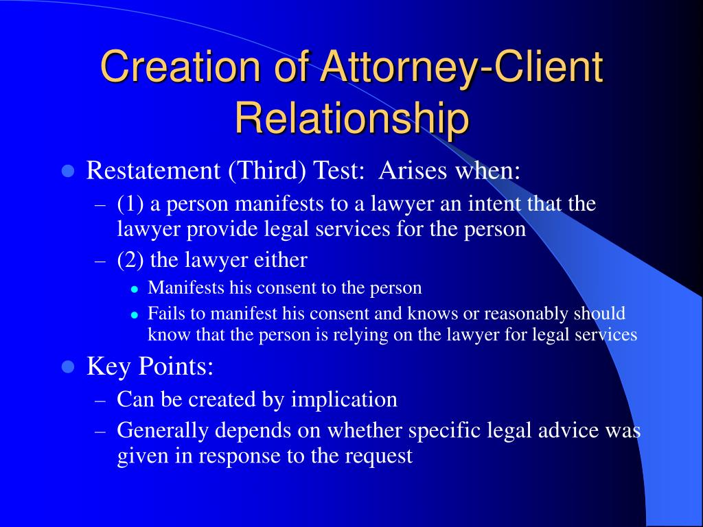 Creation of Attorney-Client Relationship