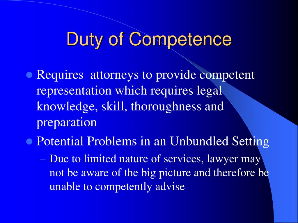 Duty of Competence