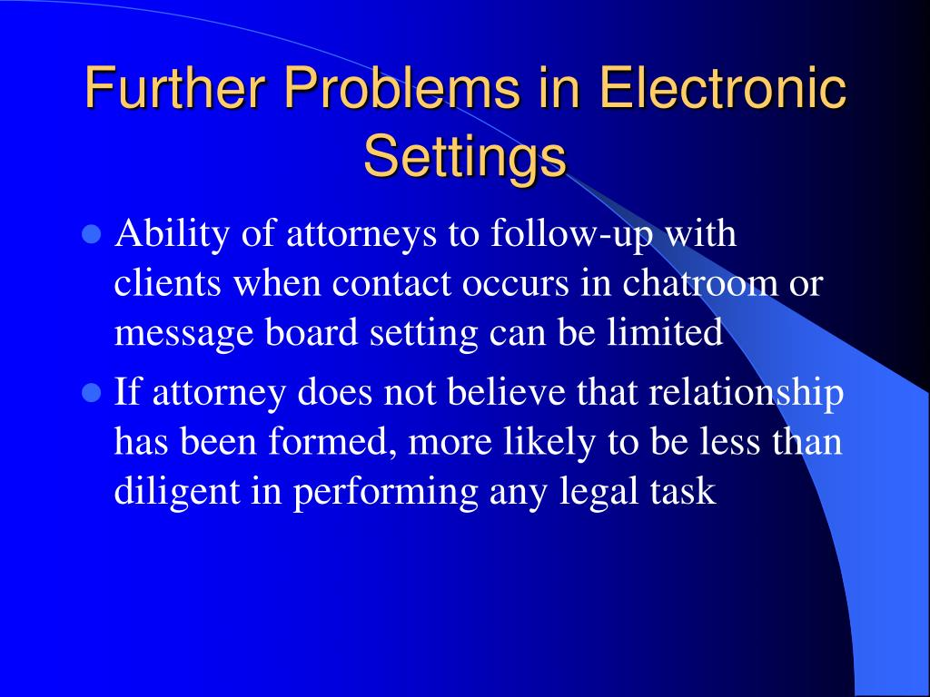 Further Problems in Electronic Settings
