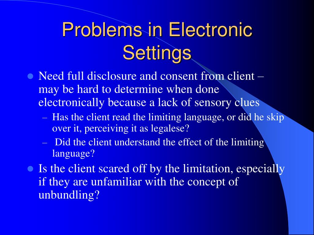 Problems in Electronic Settings