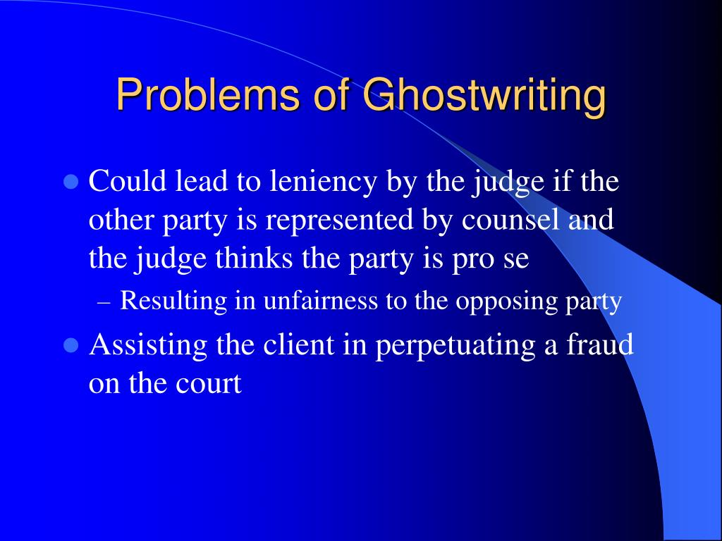 Problems of Ghostwriting