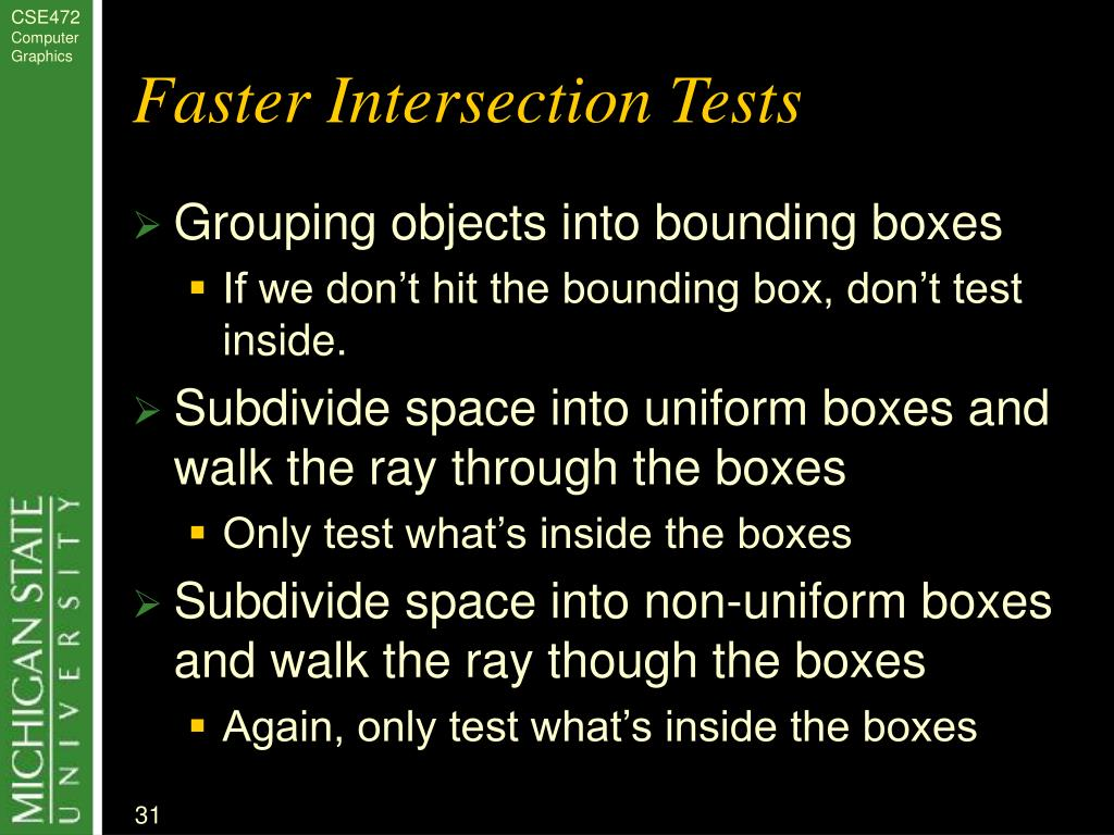 Faster Intersection Tests
