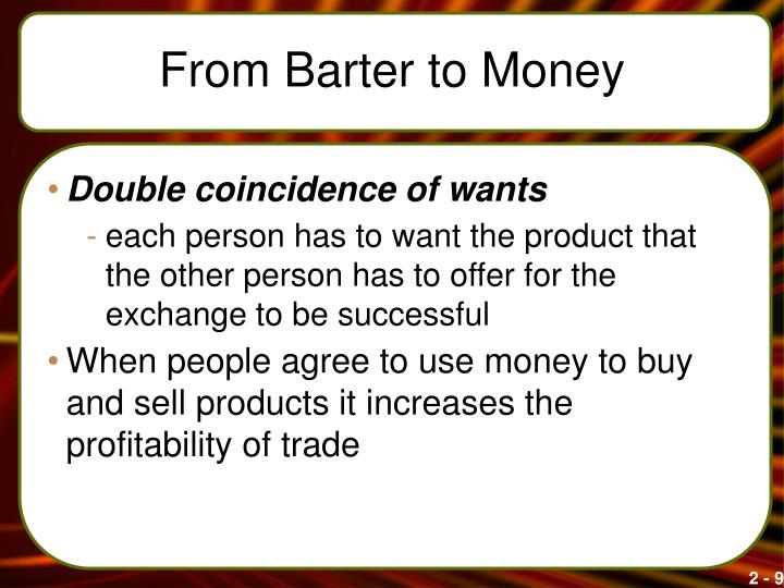 From Barter to Money