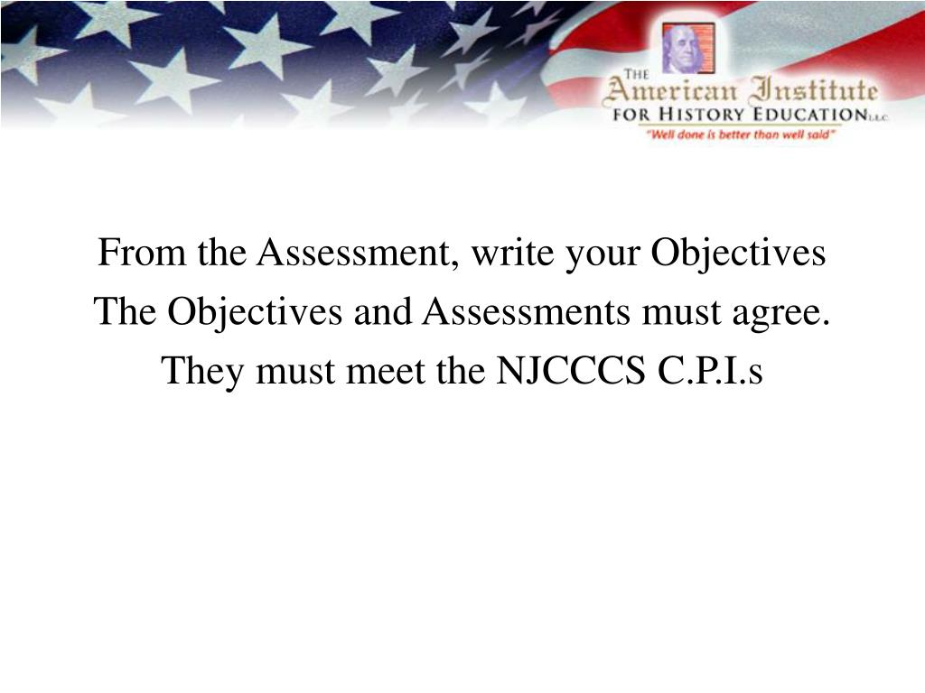 From the Assessment, write your Objectives