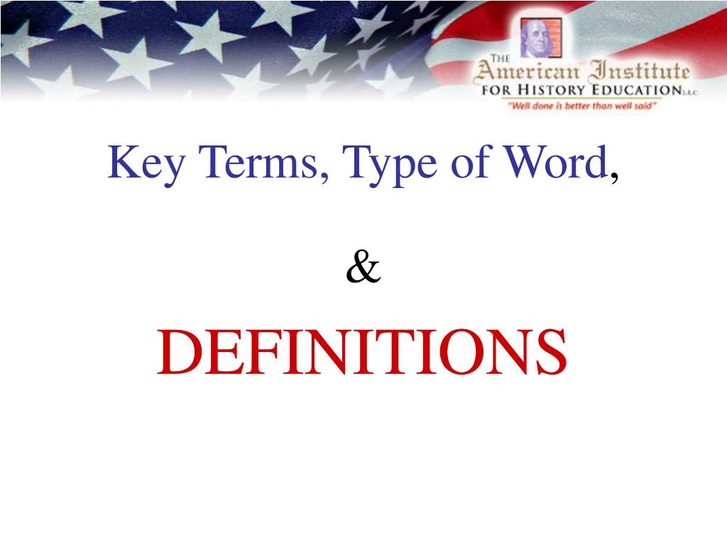 Key Terms, Type of Word
