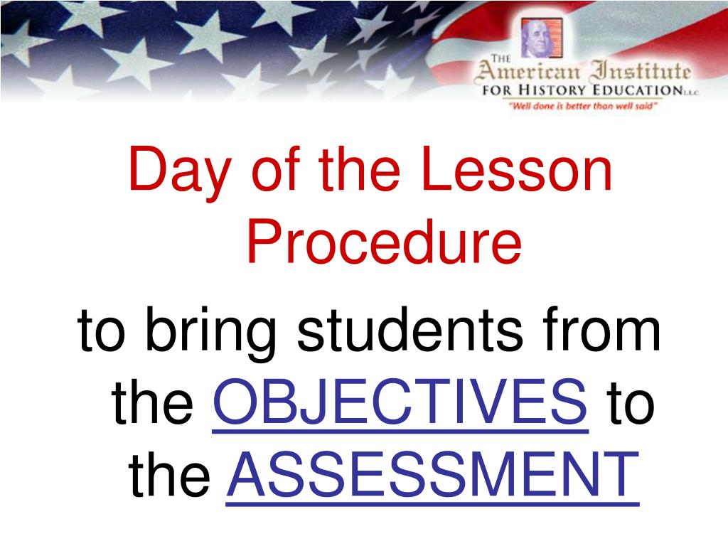 Day of the Lesson Procedure