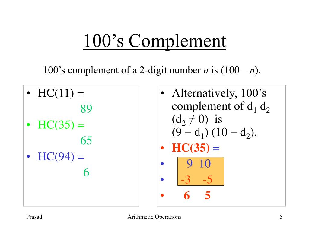 Alternatively, 100's complement of d