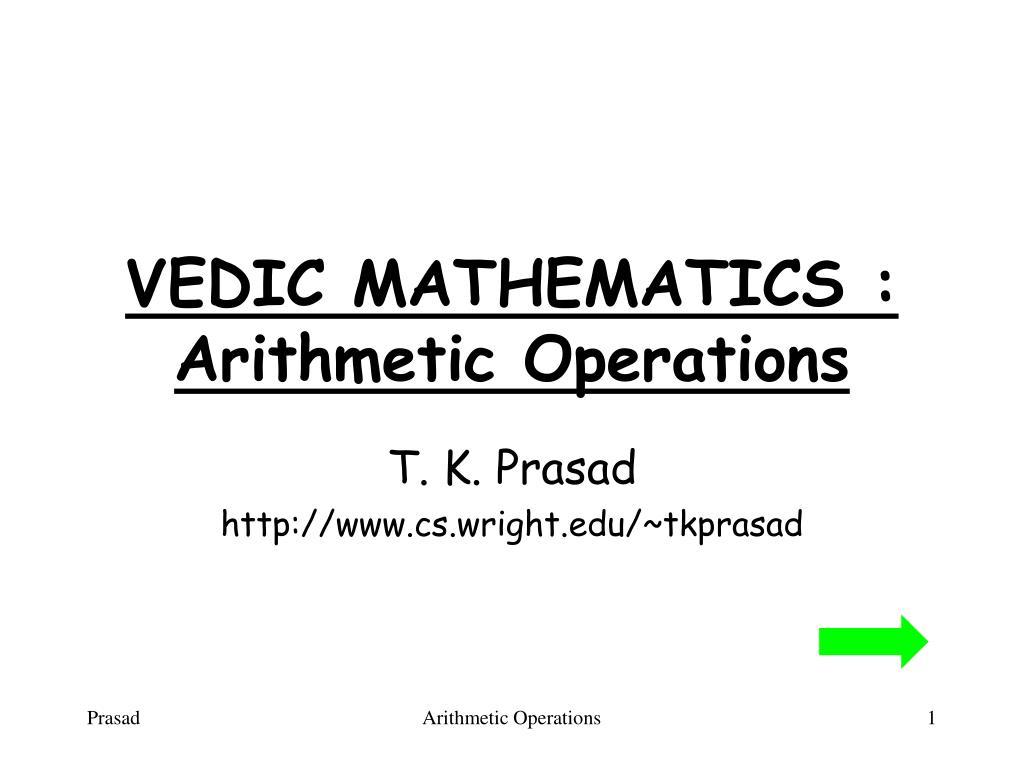 vedic mathematics arithmetic operations