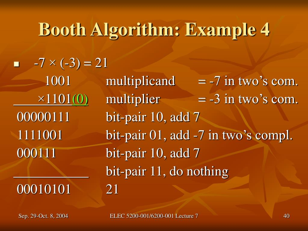 Booth Algorithm: Example 4