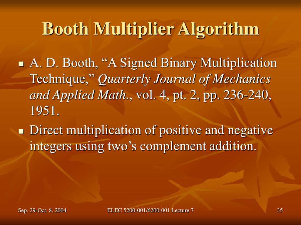Booth Multiplier Algorithm