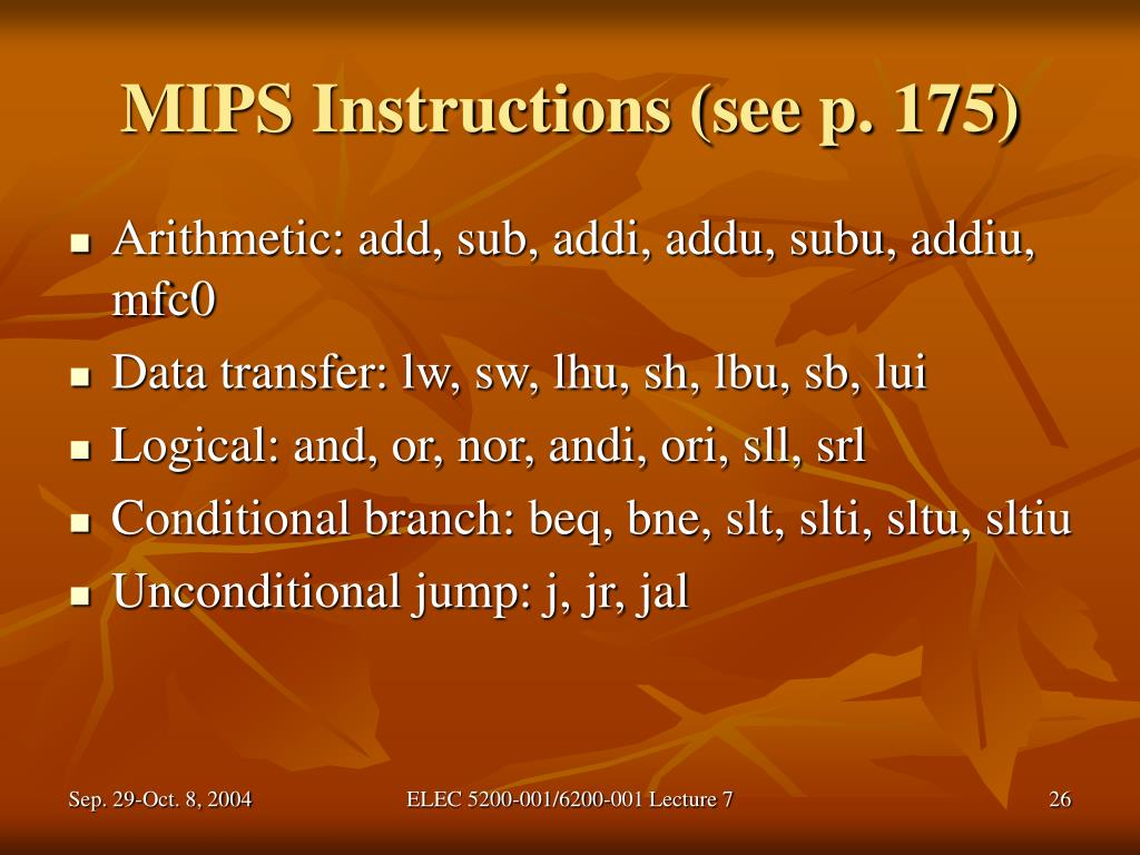 MIPS Instructions (see p. 175)