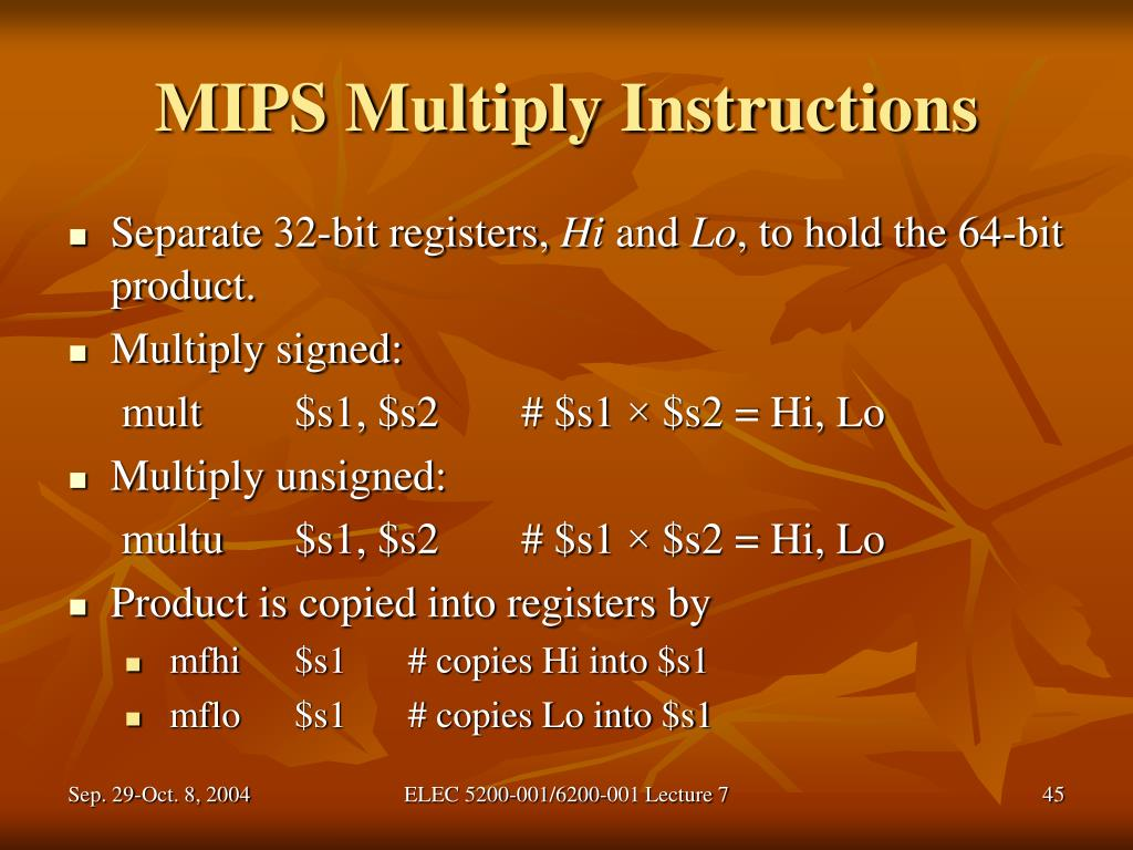 MIPS Multiply Instructions