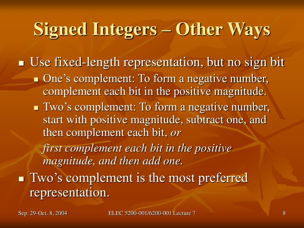 Signed Integers – Other Ways