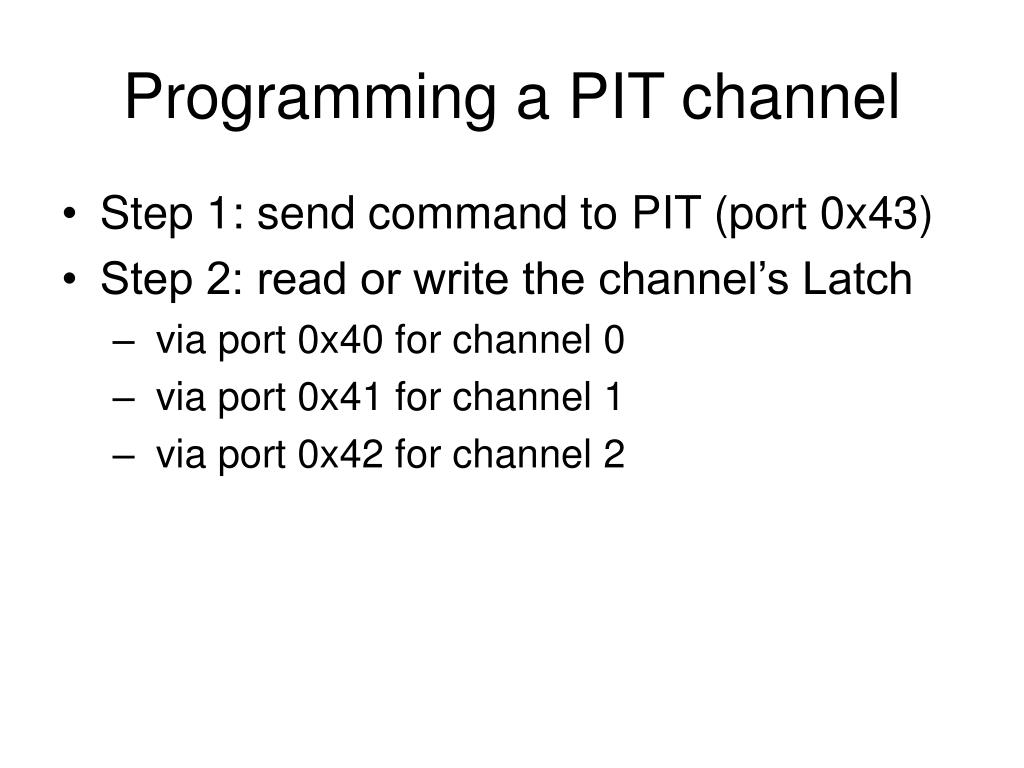 Programming a PIT channel