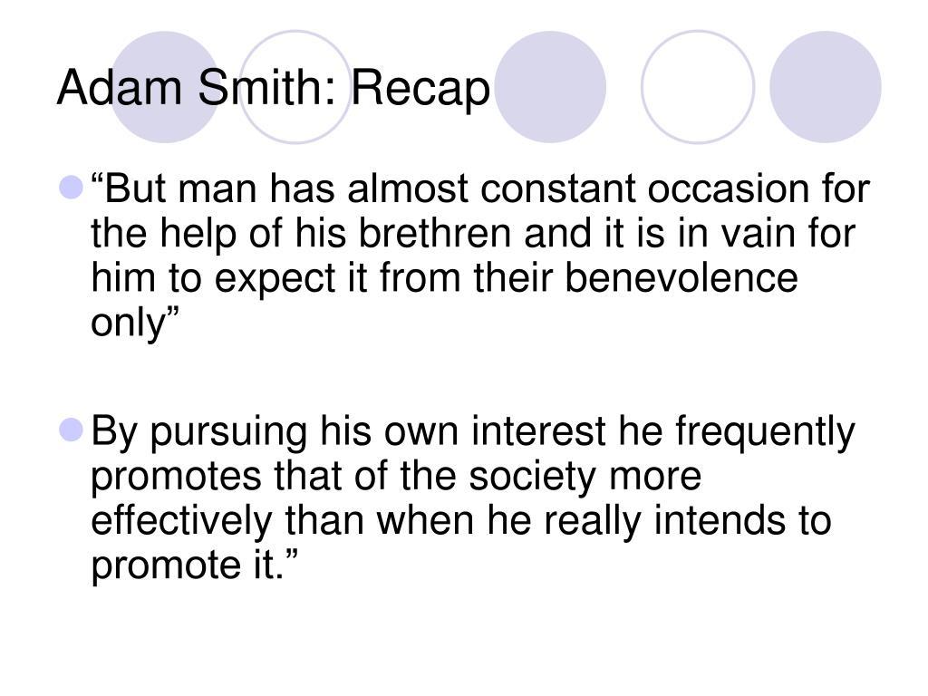Adam Smith: Recap