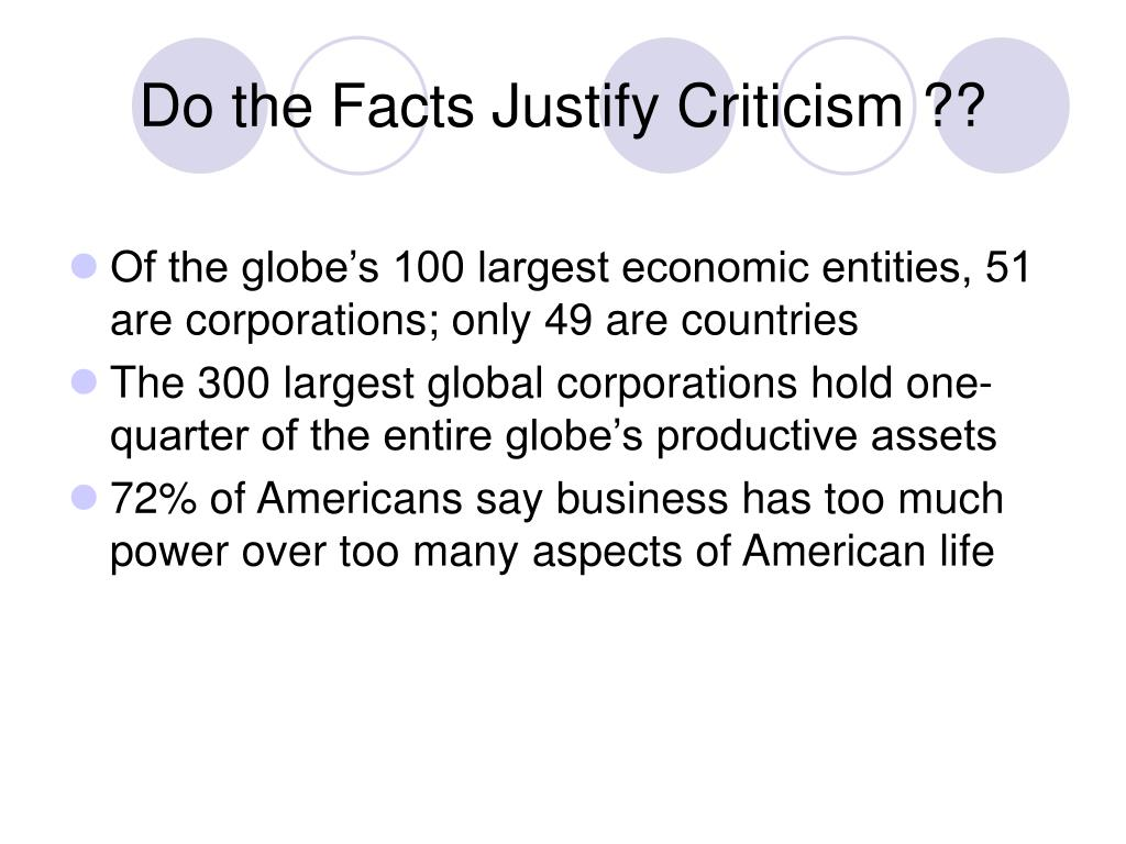 Do the Facts Justify Criticism ??