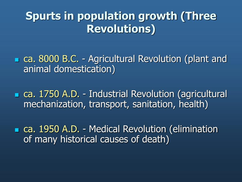 Spurts in population growth (Three Revolutions)