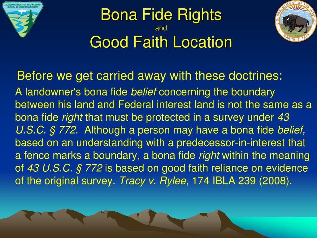 Bona Fide Rights