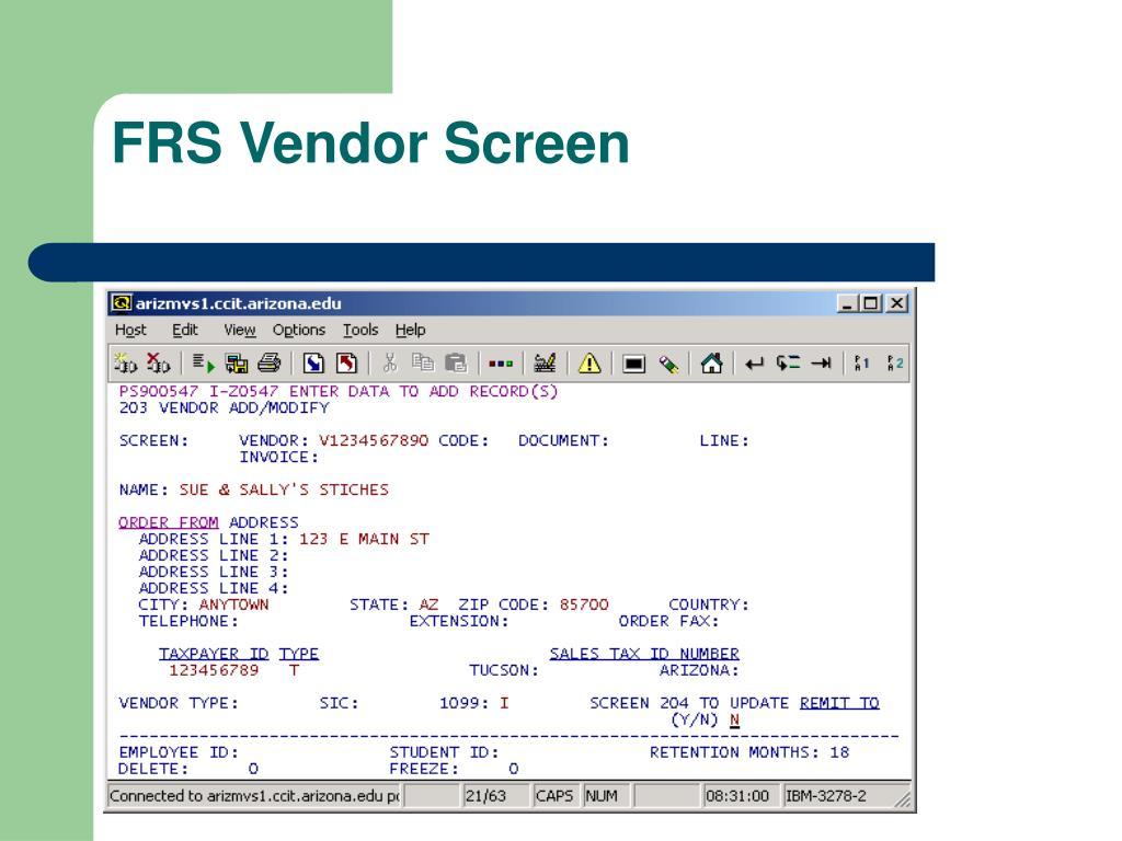 FRS Vendor Screen