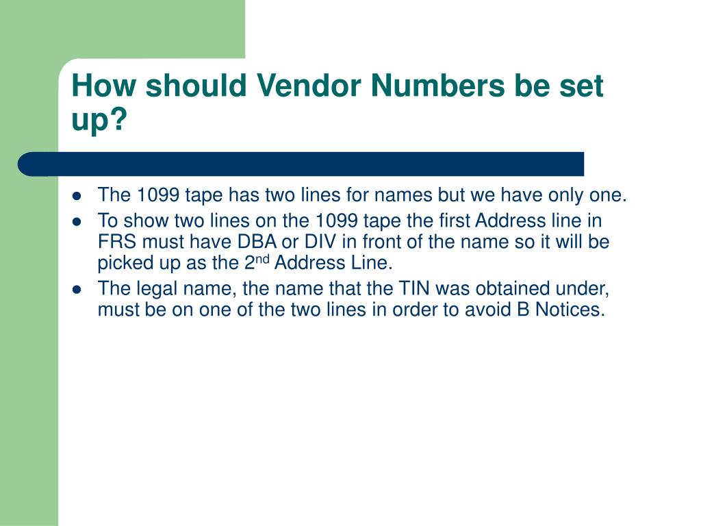 How should Vendor Numbers be set up?