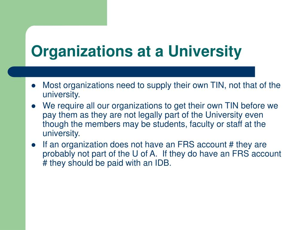 Organizations at a University