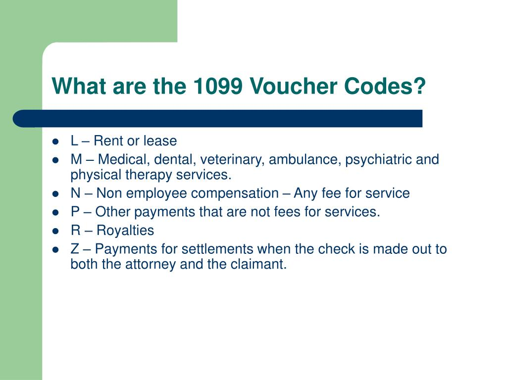 What are the 1099 Voucher Codes?