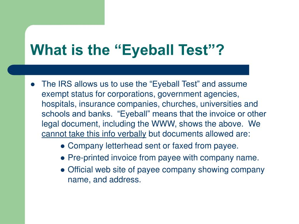 """What is the """"Eyeball Test""""?"""