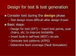 design for test test generation