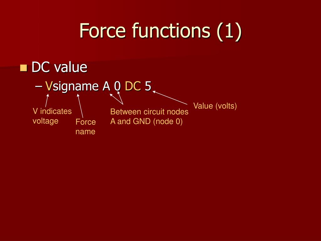 Force functions (1)