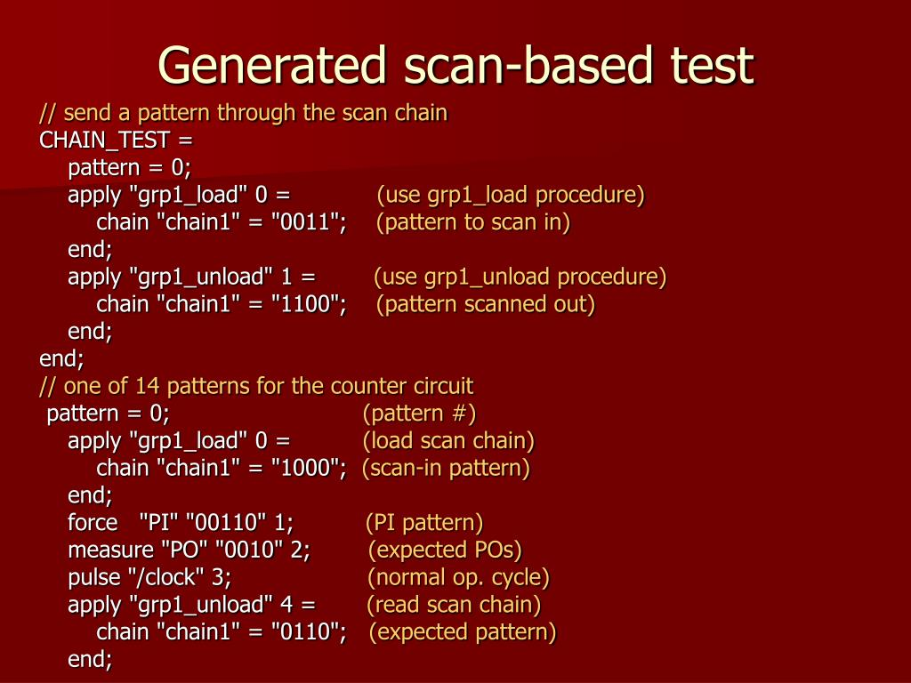 Generated scan-based test